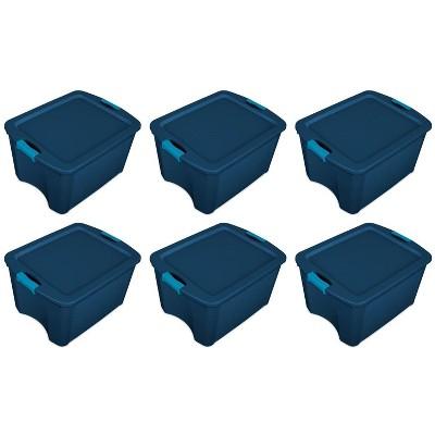 Sterilite 18 Gallon Heavy Duty Latch and Carry Storage Tote (6 Pack), True Blue