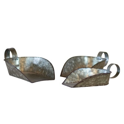 Decorative Metal Scoop Set Silver 3pk - VIP Home & Garden