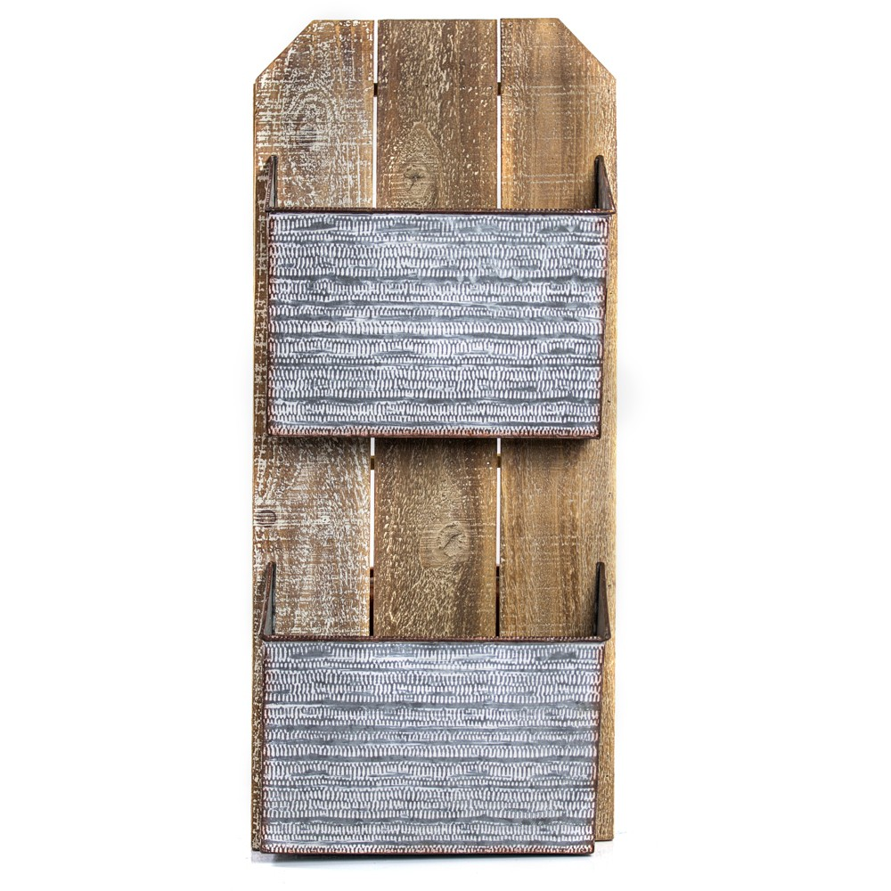 Image of Metal And Wood Wall Double Pocket Brown - E2 Concepts, Gray Brown