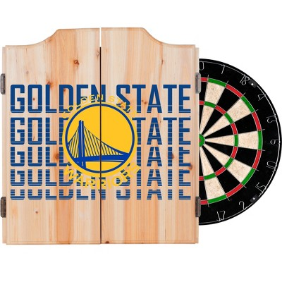 NBA City Dart Cabinet Set with Darts and Bristle Dart Board