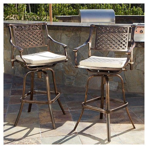 Sebastian Set Of 2 Cast Aluminum Patio Barstool With Cushion Copper Christopher Knight Home Target