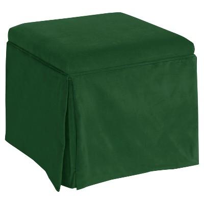 Skirted Storage Ottoman - Fauxmo Emerald - Skyline Furniture