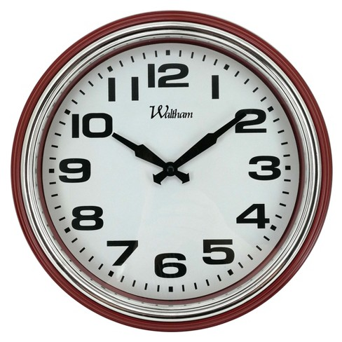 "Round 12"" Marsala Case with Silver Bezel Wall Clock - Nelsonic - image 1 of 2"