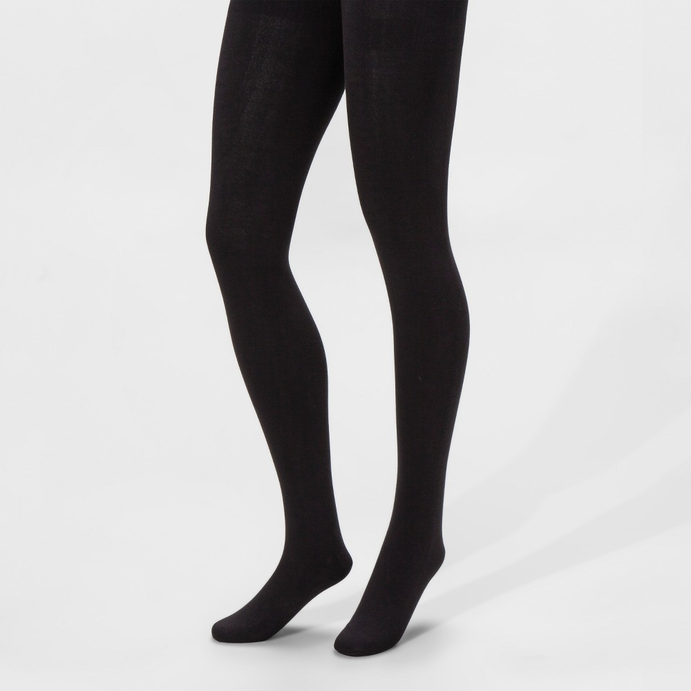 Women's Cotton Blend Fleece-Lined Tights - A New Day Black M/L