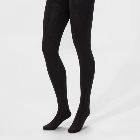 Women's Fleece Lined Tights - A New Day™ Black - image 1 of 1