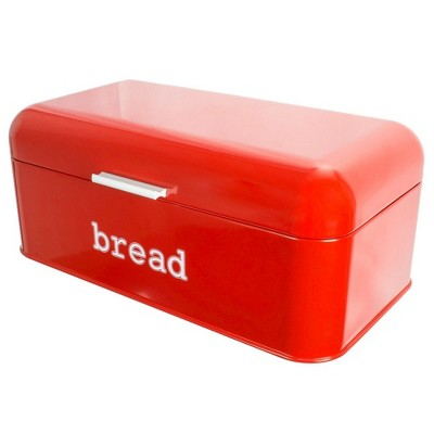 Juvale Bread Boxes for Kitchens Countertop, Stainless Steel Bread Bin Dry Food Storage Containers, Red, 16.75 x 9 x 6.5 inches