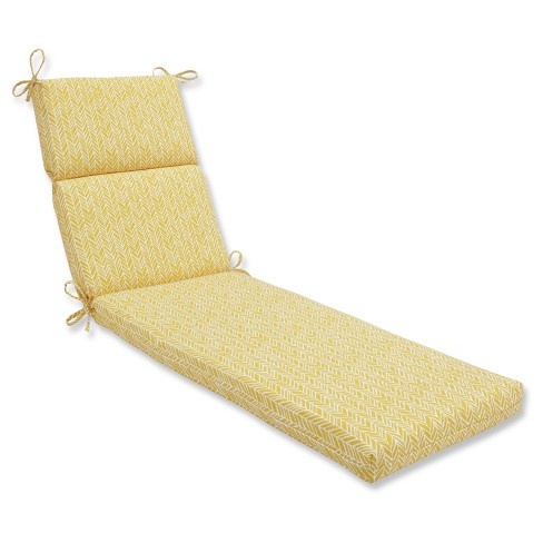 Outdoor/Indoor Herringbone Yellow Chaise Lounge Cushion - Pillow Perfect - image 1 of 1