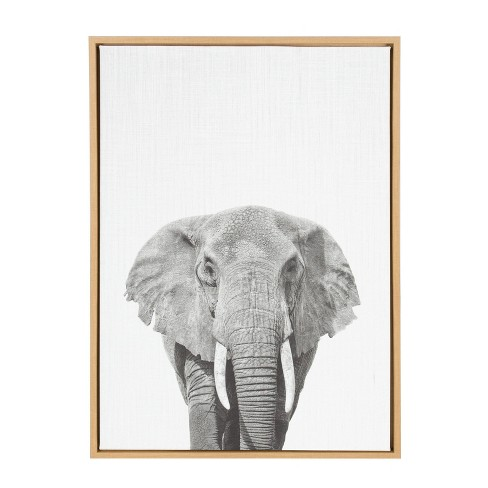 23 X 33 Sylvie Elephant Framed Canvas By Simon Te Tai Natural Kate And Laurel Target