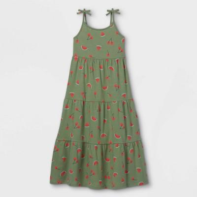 Girls' Printed Knit Sleeveless Maxi Dress - Cat & Jack™ Army Green