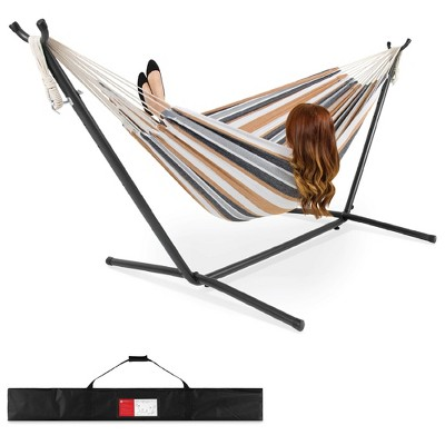 Best Choice Products 2-Person Brazilian-Style Cotton Double Hammock Bed w/ Carrying BagSteel Stand