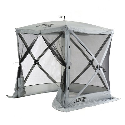 CLAM Quick-Set 6 x 6 Foot Traveler Portable Pop Up Outdoor Camping Gazebo 4 Sided Canopy Shelter with Ground Stakes and Carrying Bag, Gray