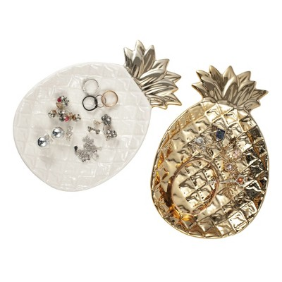 2 Pack Pineapple Jewelry Tray Trinket Dish, Gold & White Ring Plate Holder, Key Tray for Entryway Table, Desk Organizer