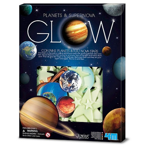 4m glow in the dark planets supernova stars wall ceiling stick