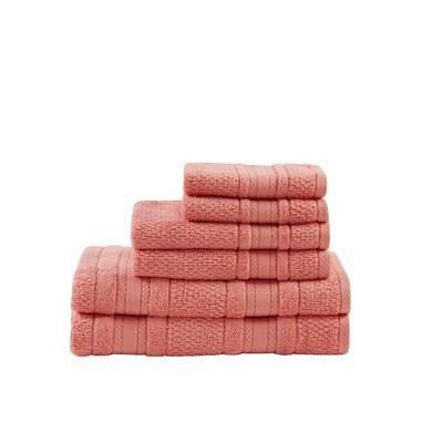 6pc Roman Super Soft Cotton Bath Towel Set Coral