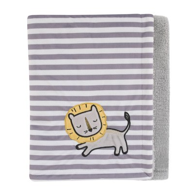 NoJo Little Love Roarsome Lion Plush Baby Blanket with Yellow Lion Applique