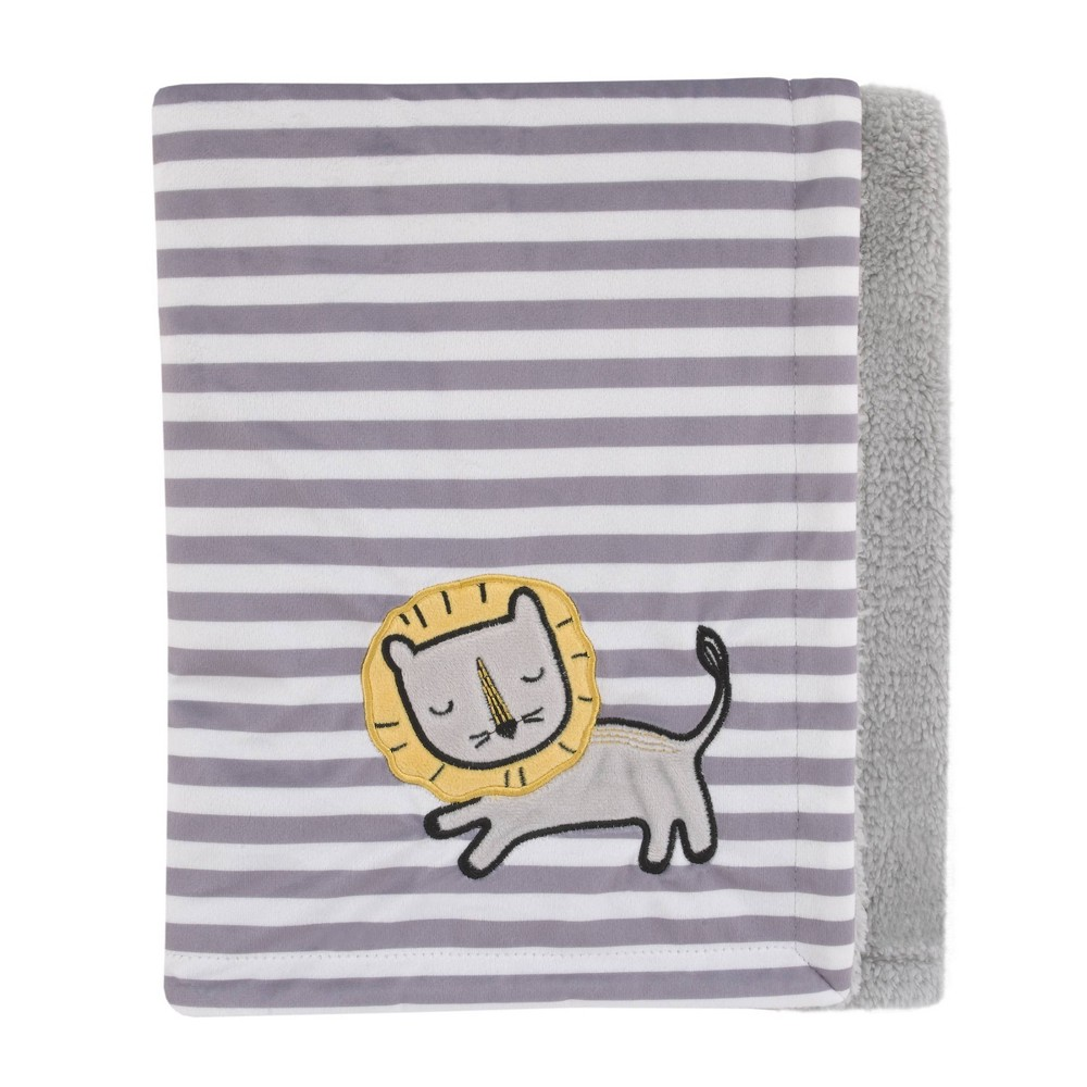 Image of NoJo Little Love Roarsome Lion Plush Baby Blanket with Yellow Lion Applique