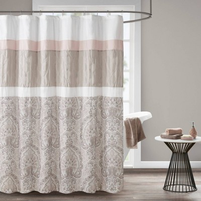Stacie Printed Shower Curtain with Liner Blush