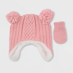 Baby Girls' Cable Knit Hat & Gloves Set - Cat & Jack™ Pink