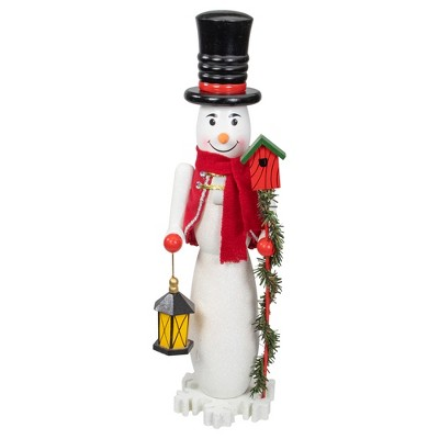 "Northlight 18"" White and Red Snowman Nutcracker Christmas Tabletop Decor"