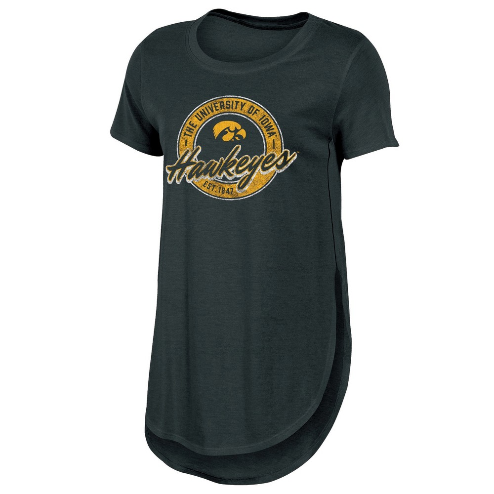 Iowa Hawkeyes Women's Heathered Crew Neck Tunic T-Shirt - L, Multicolored
