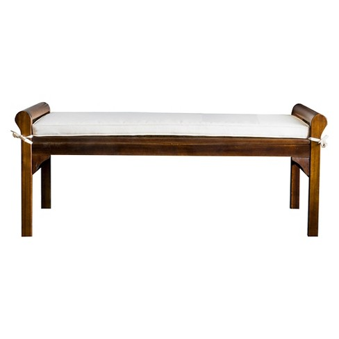 Nelson Wood Bench With Cushion Mahogany Christopher Knight Home