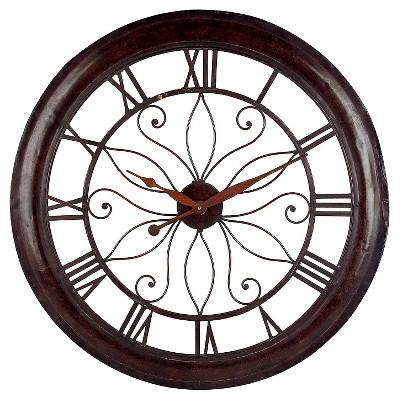 "30"" Round Wall Clock Mahogany Red - Aurora"