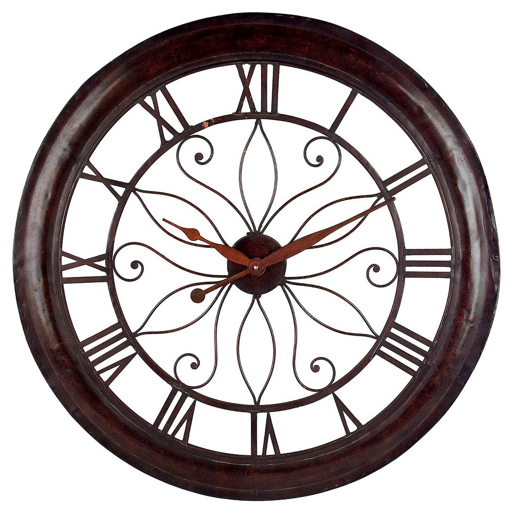 Image of 30 Round Wall Clock Mahogany Red - Aurora