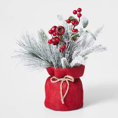 Mixed Greenery with Red Berries in Burlap Bag - Wondershop™