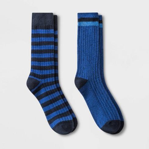 Men's Striped Boot Socks 2pk - Goodfellow & Co™ Blue 7-12 - image 1 of 2