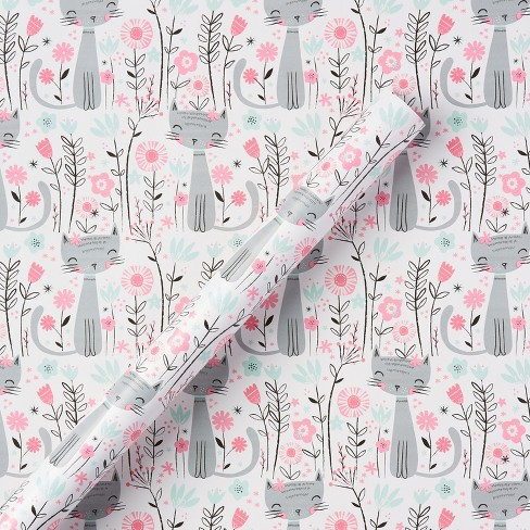 Cat and flowers printed gift wrap spritz target cat and flowers printed gift wrap spritz mightylinksfo