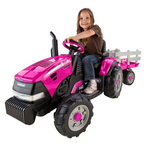 Peg Perego 12V Case IH Magnum Tractor with Trailer Powered Ride-On - Pink - image 1 of 4