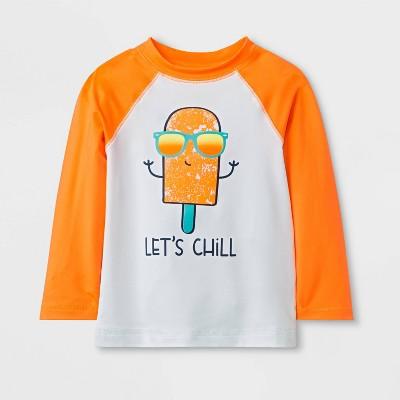 Baby Boys' Long Sleeve Pieced Rash Guard - Cat & Jack™ Orange 18M