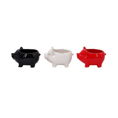 Pig-Shaped Ceramic Dish Set of 3 Black/White/Red 5  - Drew DeRose