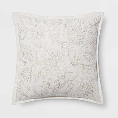 Embroidered Floral Square Throw Pillow Neutral - Threshold™