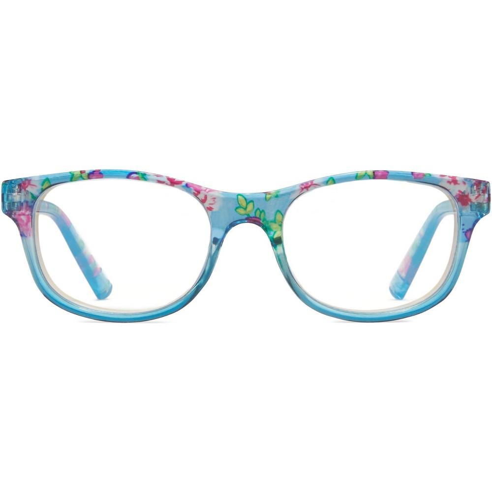 Icu Eyewear Screen Vision Kids Blue Light Filtering Oval Glasses Blue Floral