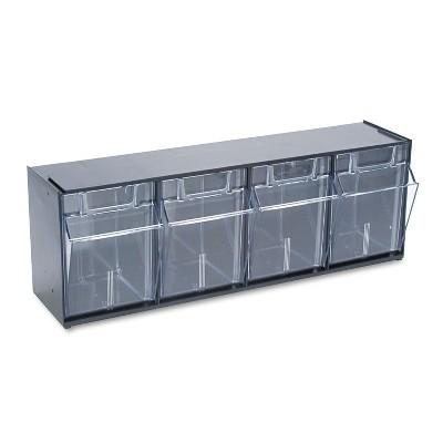 Deflecto Tilt Bin Plastic Storage System w/4 Bins 23 5/8 x 6 5/8 x 8 1/8 Black 20404OP