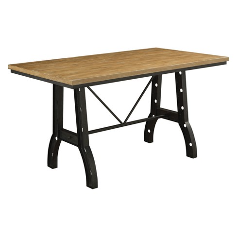Iohomes Gillock Industrial Two Toned Counter Height Table Rustic Oak Homes Inside Out