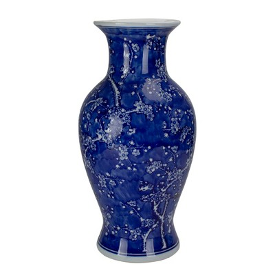 "Raz Imports 18.25"" Blue and White Ceramic Cherry Blossom Vase"