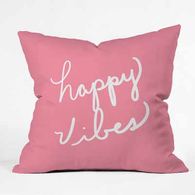 18 x18  Lisa Argyropoulos Happy Vibes Rose Throw Pillow Pink - Deny Designs