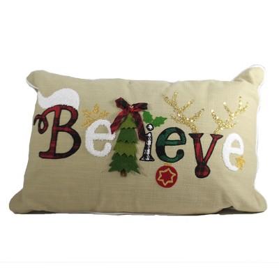 "Home Decor 14.0"" Believe Christmas Pillow Christmas Tree  -  Decorative Pillow"