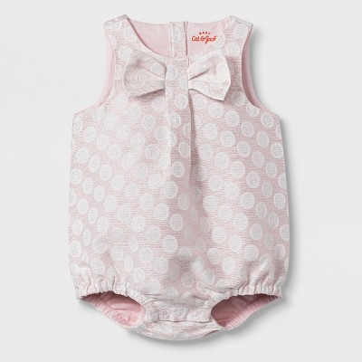 Baby Girls' Short Jacquard Romper - Cat & Jack™ Pink Newborn