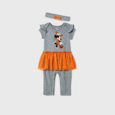 Baby Girls' Minnie Mouse Halloween Tutu Romper with Headband - Gray 6-9M