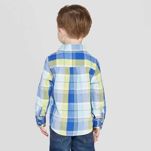 7f47facb Toddler Boys' Long Sleeve Plaid Poplin Button-Down Shirt - Cat & Jack™  Blue/Yellow