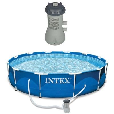 Intex 12x2.5 Ft Metal Frame Pool w/ Intex Swimming Pool Filter Pump System