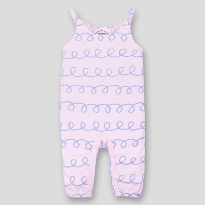 Lamaze Baby Girls' Organic Cotton Long Romper with Bow - Pink 9M