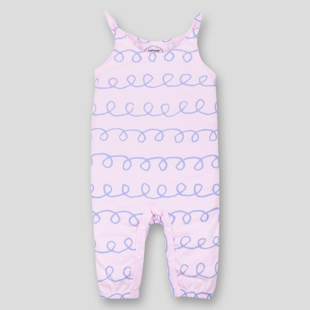 Lamaze Baby Girls' Organic Cotton Long Romper with Bow - Pink 18M