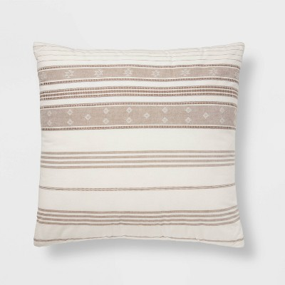 Oversize Global Cotton Woven Square Throw Pillow Brown/Cream - Threshold™