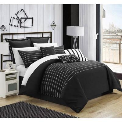 Chic Home Design King 9pc Karlston Bed In A Bag Comforter Set Black
