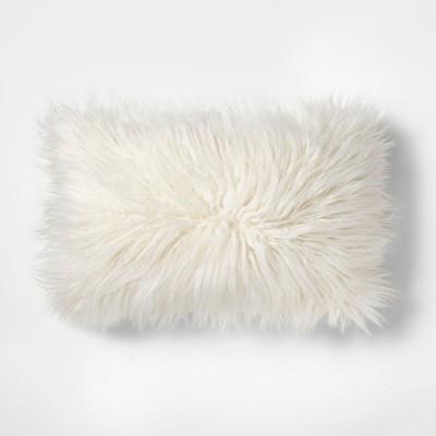 Faux Fur Lumbar Pillow Cream - Makers Collective