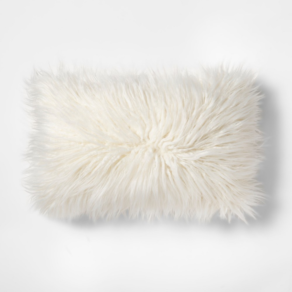 Image of Faux Fur Lumbar Pillow Cream (Ivory) - Makers Collective